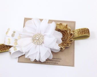 Pineapple Headband Gold Headband Gold and White Headband Ballerina Flower Headband Metallic Ribbon Couture Headband M2M Summer Headband