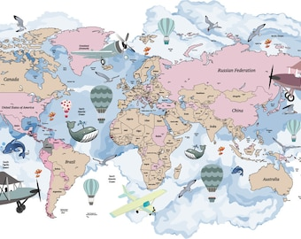 Animals world map decal clear vinyl decal kids room decals avitation world map decal airplane map wall decal clear vinyl decal nursery room decals world map mural hot air balloon world map gumiabroncs Image collections