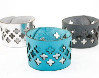 Wide Leather Cuff Bracelet - Cross Cutout Pattern - Laser Cut Leather (Custom Made Bracelets - Choose Your Color and Size)