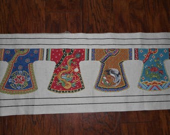 Beautiful, Rich Completed Kimono Row Counted Cross Stitch