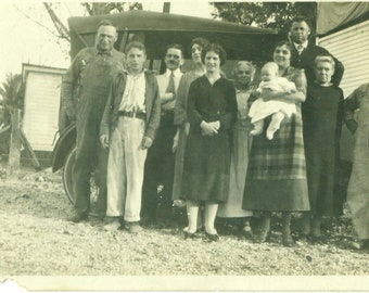1930s Farm Family Standing with Car Palm Tree South Group Photo Mother Baby 30s Antique Vintage Photograph Black White Photo
