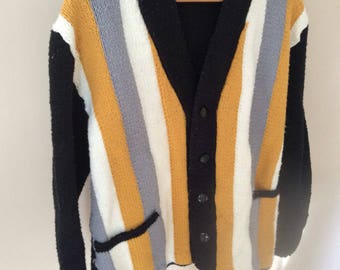 Striped black & yellow grandpa cardigan sweater with buttons