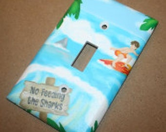 Surf No Feeding the Sharks Nursery Bedroom Single Light Switch Cover LS0060
