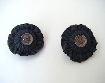 Vintage Black Fabric Tufted Button Rosette Clip On Earrings Round Glamour Jewelry Special Occasion Victorian Edwardian Petrushka