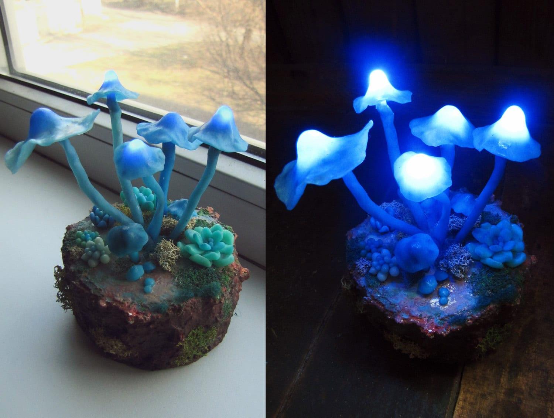Mushrooms Night Light Blue Polymer Clay Fungi Miniature