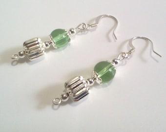 Green and Silver Glass Bead Earrings, Silver Drop Dangle Earrings,  Handmade Jewelry