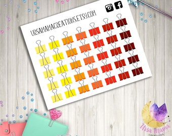 Warm Red Orange Yellow Binder Clip Stickers