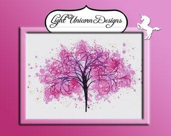 Cherry Magenta Tree Cross Stitch Pattern