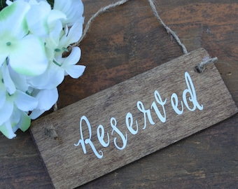 Reserved sign Wedding reserved sign Rustic reserved sign Chair sign Reserved Row sign Rustic Wedding signs Wedding signage