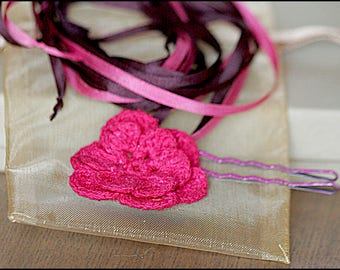 Silk Ribbon & Flower Necklace/ Hairband / Bow, Irish Crochet Fuchsia Pink Primrose w/ Chocolate Brown and Pink Ribbons