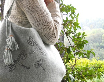 "Loden Hobo bag Embroidered to free motion ""dragonflies"""