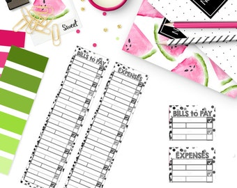Monthly Bill / Expense Tracker Stickers | NEUTRAL BLACK & WHITE Color Palette | LB200