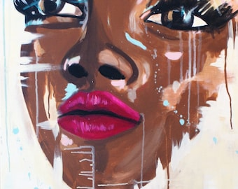 """African American art poster print- """"Beauty Unfinished"""""""