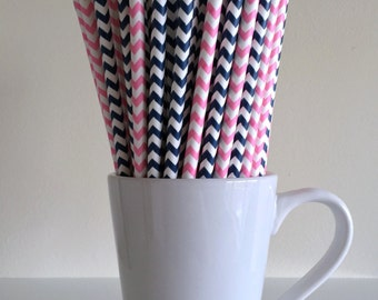 Pink and Blue Paper Straws Pink and Navy Blue Chevron Gender Reveal Party Supplies Party Decor Bar Cart Cake Pop Sticks Graduation