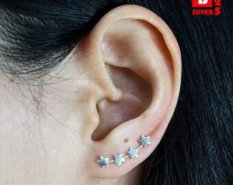925 Sterling Silver Ear Climbers, Ear Cuff Earrings, Star Earrings, Earrings Pins (Code : ED126)