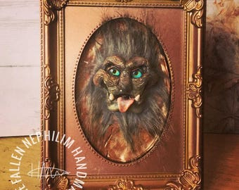 Gargoyle Sculpture Set into a Frame, loosely based on Ludo from Labyrinth - Sculpted Art Doll Head with Glass Eyes and Fur