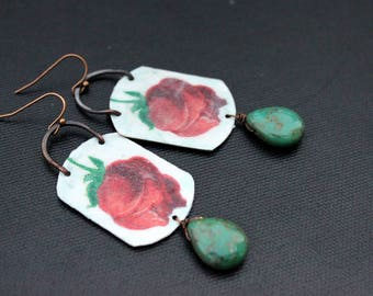 Handmade Decoupage Earrings, Rose Earrings, Czech Glass, Teardrops, Flower Earrings, Oxidized Copper, Nature Jewelry, Lightweight, Bohemian