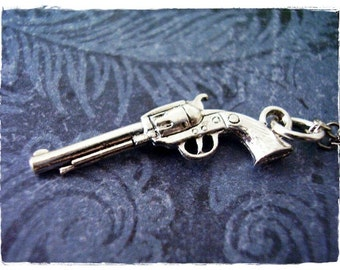 Silver Six Shooter Gun Necklace - Silver Pewter Six Shooter Gun Charm on a Delicate Silver Plated Cable Chain or Charm Only