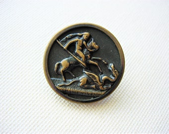 Neat Antique/Vintage Pictorial Metal Button-Dragon Slayer
