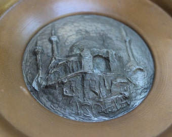 Vintage Russian Souvenir Bowl Wall Hanging Sculpture Metal Cityscape Antique Artwork
