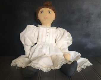 Vintage Handmade Hand Painted Primitive Cloth Doll Rag Doll Church Doll