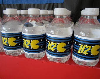 Pac-Man water bottle label video games pac man printable birthday party