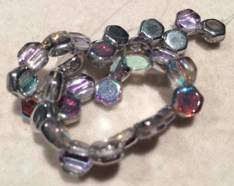 Honeycomb Beads, 6mm, Crystal Silver Rainbow, HC0600030-98530, 30 Beads, Czech Glass
