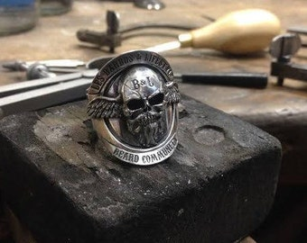 """Bearded & Lifestyle"" club ring 925 sterling silver. Beard club biker ring. Beard bearded skull ring. Pogonophile."