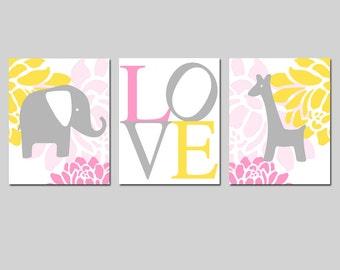 Elephant Giraffe Love Nursery Art Trio - Set of Three 8x10 Prints - CHOOSE YOUR COLORS - Pink, Lemon Yellow, Gray, and More