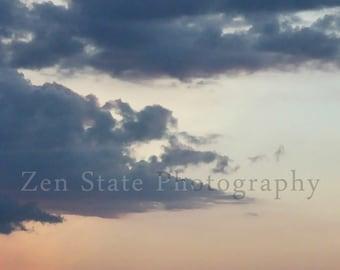 Romantic Sunset Sky Wall Decor. Pastel Pink, Peach and Blue Cloud Photograph. Nature Photography Fine Art Print. Home Decor Wall Art.