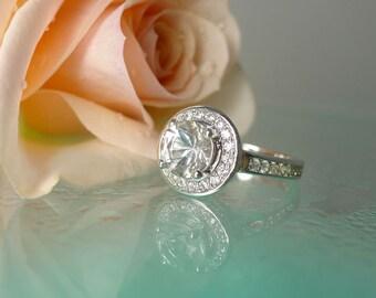 White Gemstone Ring, White Gemstone, Natural White Gemstone, Herkimer Diamond Ring, Sterling Silver, Halo Ring, Conflict Free