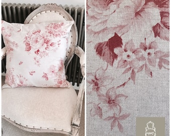 "NOW SOLD Pink Faded Roses French Linen Cushion 21"" x 21"" (inner included)"