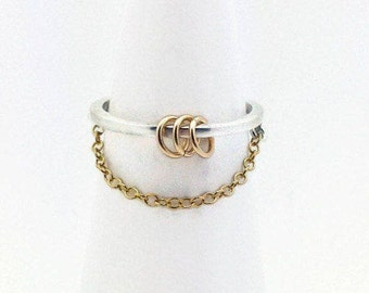 Dainty Chain Fidget Ring, Worry Ring for Women, Anxiety Ring, Fidget Jewelry, Minimalist Ring, Sterling Silver, Gold Chain Ring,Gift for Her