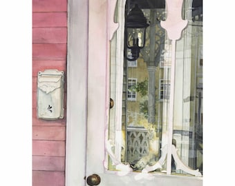 Pink Victorian - 11x14 Watercolor Painting Giclee Fine Art Print