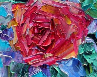 Rose painting original oil 6x6 palette knife impressionism on canvas fine art by Karen Tarlton