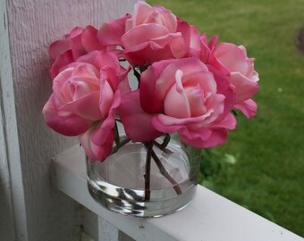 Pink Roses Flower Arrangement, Realistic Touch Roses in Glass Vase with Faux Water, Real Looking Flowers, Hot Pink, Mother's Day