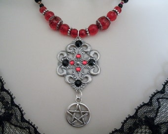 Red Pentacle Necklace, wiccan jewelry pagan jewelry wicca jewelry witch witchcraft goddess pentagram necklace pagan necklace wiccan necklace