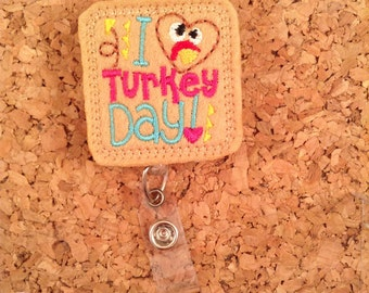 Turkey Badge Reel, Thanksgiving Badge Reel, Felt Badge Reel, Retractable Name Holder, Nurse, Teachers, Office Workers, 1073