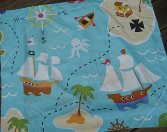 Pirate Pillow Sham - Upcycle Fabric - Cotton Blend Fits Standard Pillow - American Made in USA