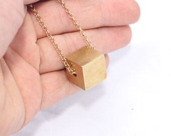 10 Pcs Raw Brass Cube Charms for Necklace (16x16mm) - Brass Cube Necklace , PND6