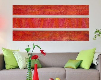 Wood Wall Sculpture - Large Abstract Paintings - Abstract Wall Art - Orange Red Wall Art  Multi Panel Wall Art  Large Red Painting Large Art