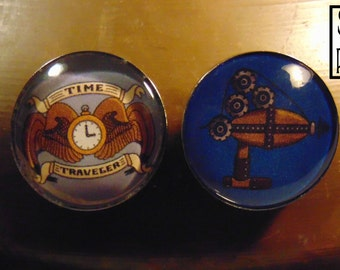 Steampunk Refrigerator Magnet Duo - 'Time Traveler's Crest' and 'Steampunk Raygun'