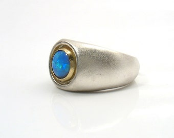 It's Mine - cabochon Lab Opal stone set in gold on silver ring.Cocktail ring.