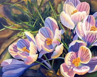 Spring flowers art colorful wall art giclee print of original crocus art watercolor painting print by cathy hillegas 12x18 watercolor flowers spring flowers mightylinksfo Choice Image