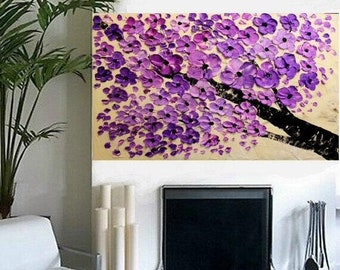 "SALE Large 36"" Original Oil abstract Purple BlossomContemporary palette knife abstract Blossom Tree  painting by Nicolette Vaughan Horner"