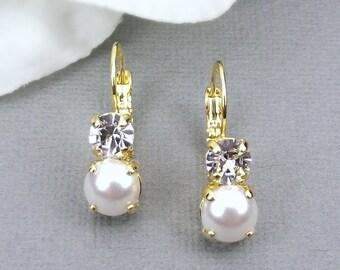 Bridal Earrings, Bridal Crystal Earrings, Pearl Earrings, Swarovski Earrings, Bridal Drop Earrings, Bridesmaid Earrings, Free Shipping.
