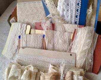Antique Wedding Laces Lot/ Vintage Lace Trims Bobbin Needlepoint /10 cards / Dolls Bears Period Costume Vintage Wedding Something Old