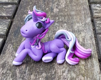 Purple and silver unicorn pony, polymer clay sculpture.