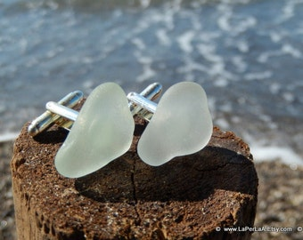 Organic clear Sea Glass cufflinks for him or her with Genuine Natural Amalfi Sea Glass / nr70