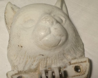 Chippy white cat door knocker #2, french country cottage, farm house, crazy cat lady